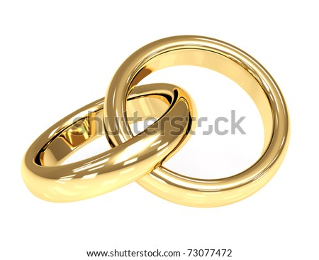 Two 3d gold wedding rings. Objects over white - stock photo
