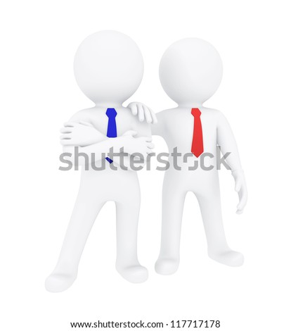 Two 3d human. Isolated on white background