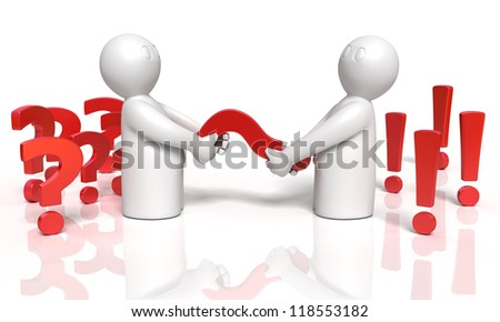 two 3d men transforms questions to answers, illustration on white background