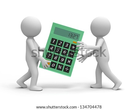 Two 3d People Carrying A Calculator Talking Stock Photo