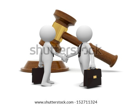 Two 3d people shaking hands , a gavel background