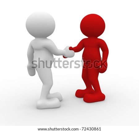 Two 3d people shaking hands - 3d render illustration