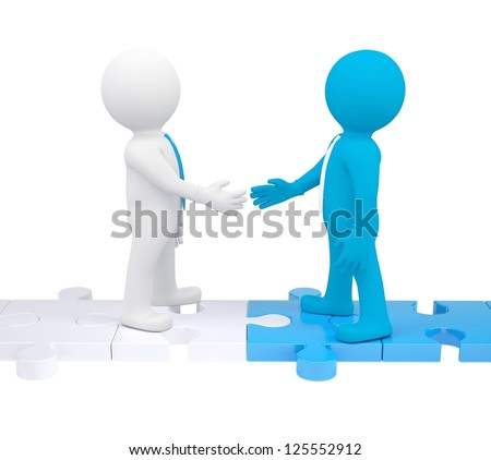 Two 3d people shaking hands. Isolated render on a white background