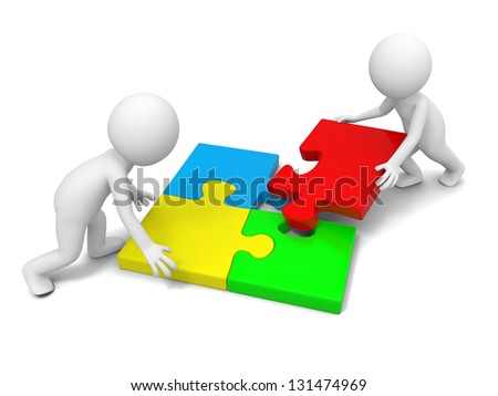 Two 3d people solving the puzzle together - stock photo