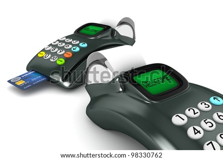 Two 3D POS-terminal with credit card isolated