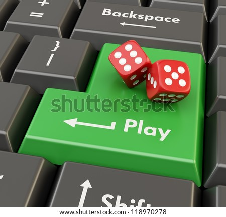 two 3d red game dices on green keyboard button - online casino concept