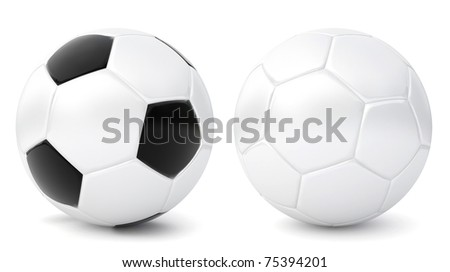 two 3d soccer balls