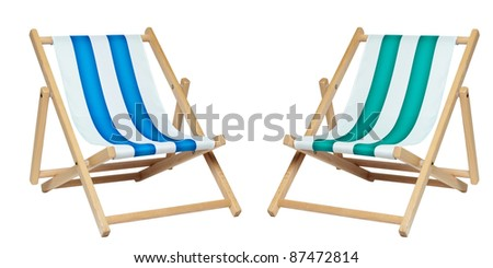 Two deck chair isolated against a white background. Includes clipping path.