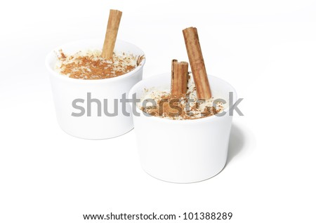 Two delicious rice pudding isolated on a white background. Delicious rice pudding with cinnamon, raisins or brown sugar on top, delicious desserts