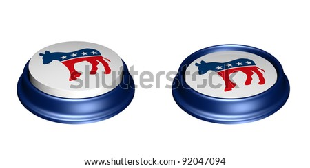 Two Democrat Party Buttons. One in the up position and the other in the depressed position. Vote. Isolated on a white background. - stock photo