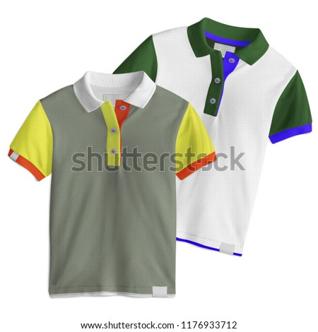 Two designs,  T-Shirt mockup, front view on white background