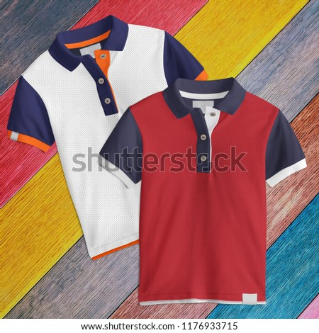 Two designs,  T-Shirt mockup, front view on wooden background