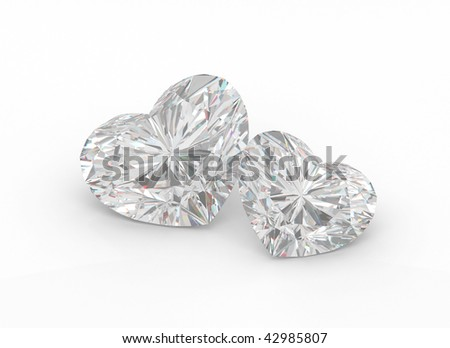 Two diamond hearts on a white background.