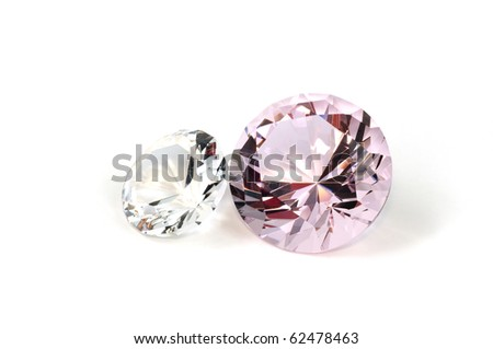 Two diamonds close up, isolated on white background