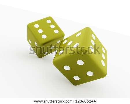 Two dice cubes isolated on white background