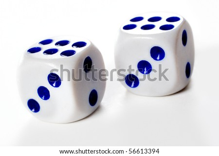 Two dice cubes over white