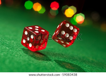 Two dice on casino table. Concept of gambling. Chance to luck