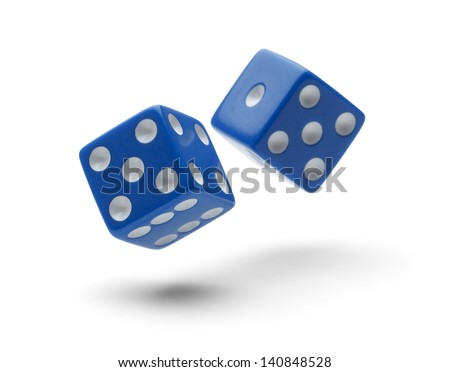 Two Dice Rolling through the Air Isolated on White Background with Shadows.