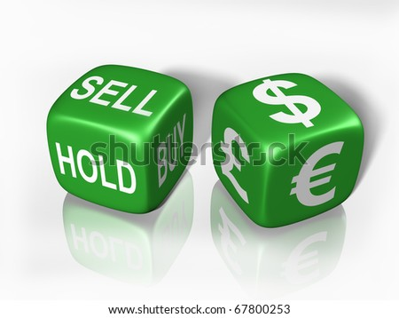 Two dice showing the gambling nature of buying and selling currency
