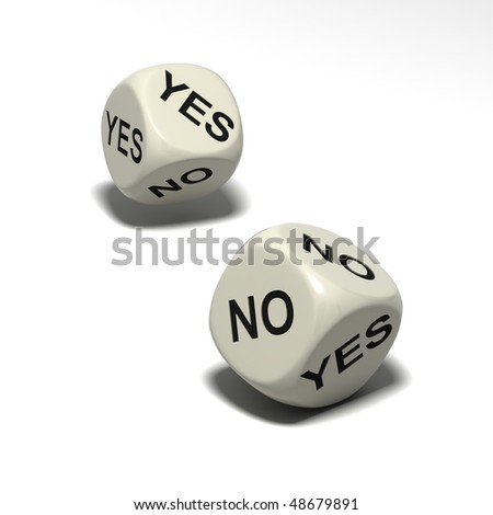 two dice with words YES and NO, isolated on white background