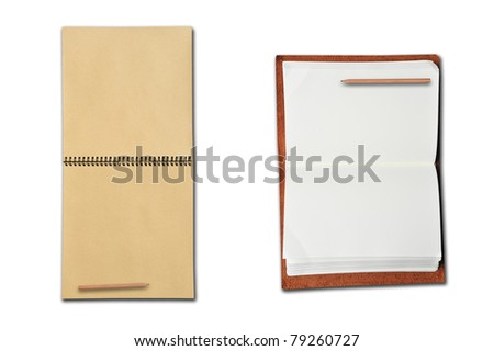 Two Difference of Open Books ; Sketch, Leather and Pencil on White Background
