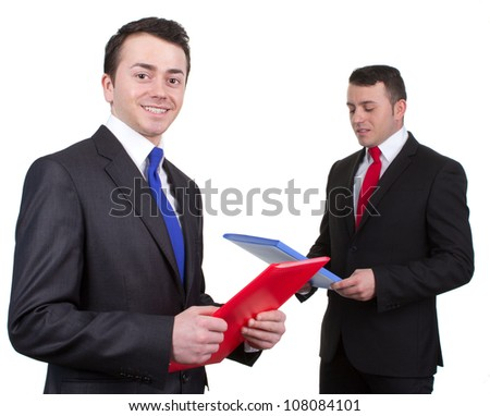 Two different businessmen, one in front, one in back, isolated on white