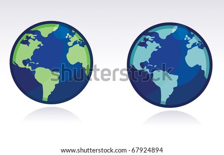 two different color globes of the world isolated over a white background.
