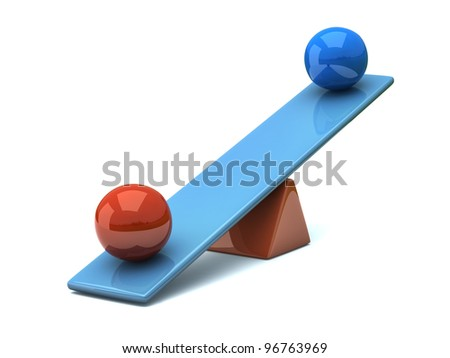 Two different color spheres on seesaw  - balance concept 3d