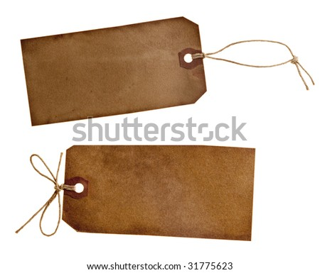 two different grunge paper tags, isolated on white
