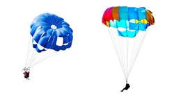 Two different images of parachutists on multicolored parachutes isolated on white background
