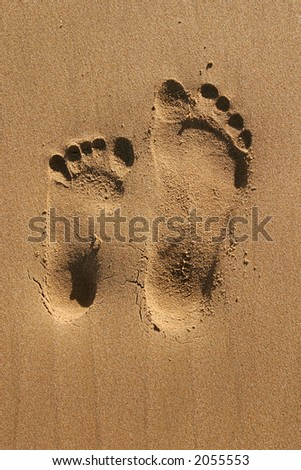 Two different size footprints