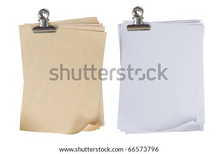 two different types of stack of paper attached with a paper clip