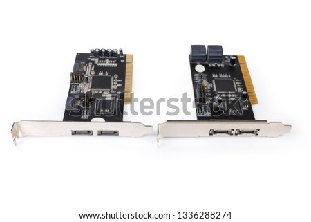 Two different used disk array controller internal cards for S-ATA hard disk drives and PCI bus on a white background