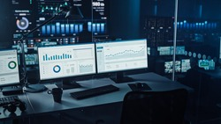 Two Digital Computer Screens with Financial Analytical Data in Modern Monitoring Office. Control Room with Finance Specialists Sit in Front of Computers.
