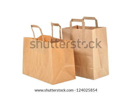 two disposable shopping bags - stock photo