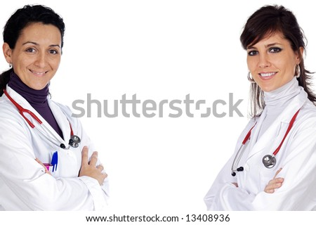 Two doctor women over a white background