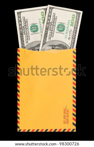 Two 100 dollar bills coming out of a ripped yellow envelope.
