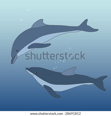 two dolphins - stock photo