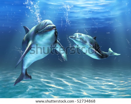Two dolphins happily swimming in the ocean. Digital illustration