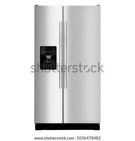 Two Door Refrigerator Isolated on White Background. Front View of Stainless Steel French Door Fridge Freezer. Side-By-Side Counter-Depth Refrigerator. Domestic Appliances. Kitchen Appliances #1036478482