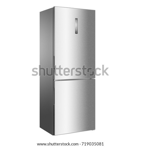 Two Door Refrigerator Isolated on White Background. Side View of Stainless Steel Fridge Freezer. Electric Appliances. Kitchen Appliances. Domestic Appliances. Smart Refrigerator #719035081