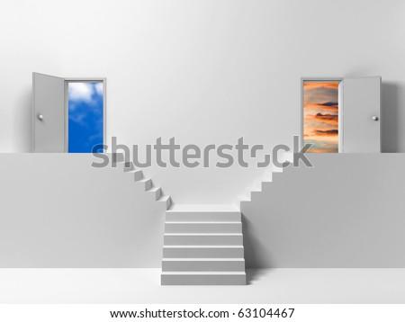 two doors, two ways - stock photo