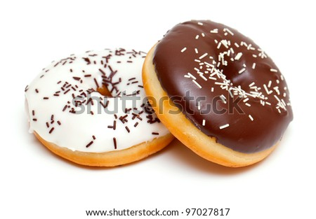 two doughnuts isolated on white