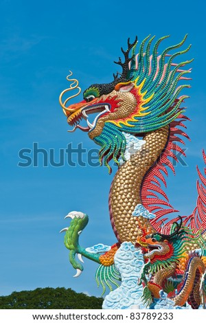 Two dragon with blue sky