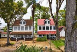 Two Dutch colonial houses of Fort 'Zeelandia' (17th century), Paramaribo, Suriname, South-America