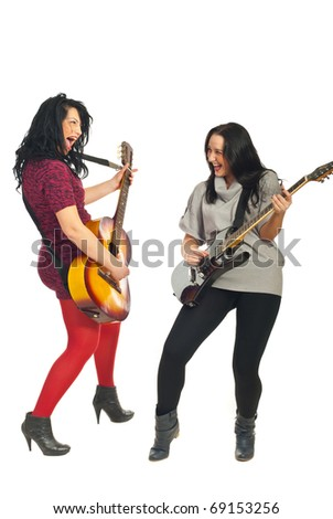 Two dynamic women singing and playing guitars isolated on white background