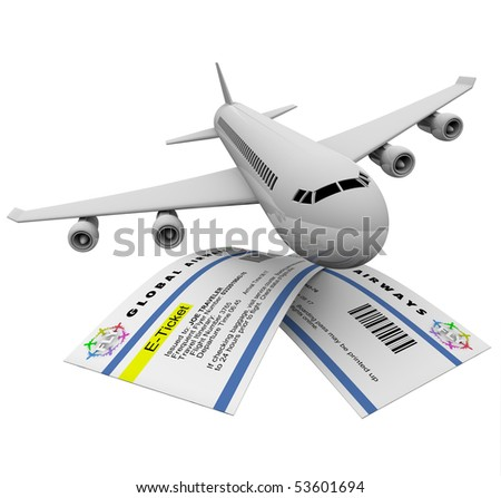 Two e-tickets and an airplane, symbolizing air travel