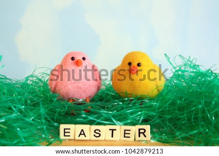 two Easter chicks on pink on yellow sitting on Easter grass green with sky background with the words Easter spelled out in white letter tiles #1042879213