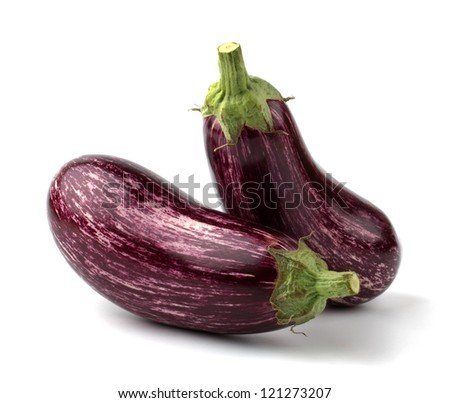 Two eggplants isolated on white