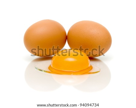 two eggs and egg yolk closeup on white background